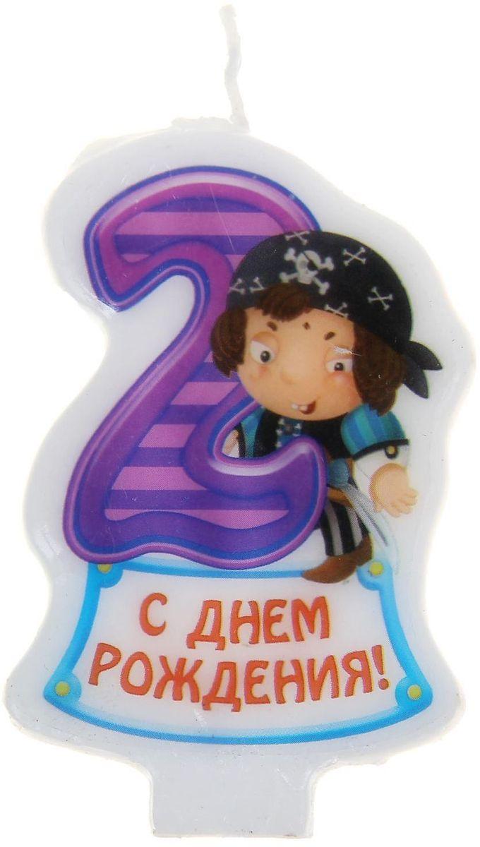 Sima-land Свеча в торт серия Пираты цифра 2, 4,8 х 7,3 см 1056445 sima land бумажные колпаки с днем рождения красивый торт 10 шт