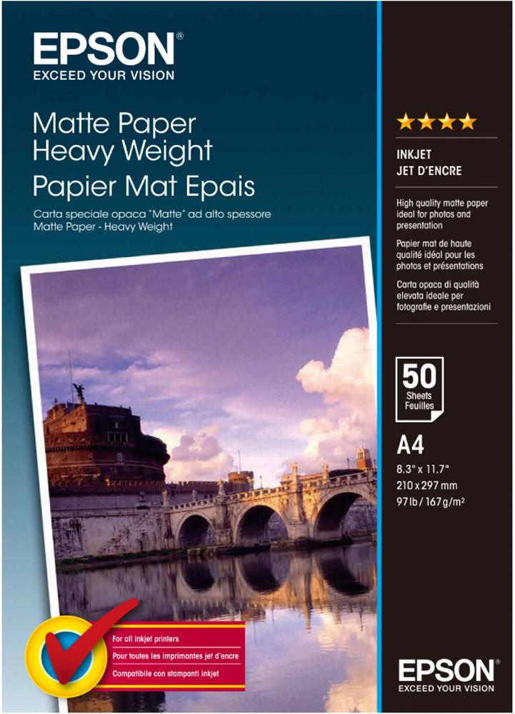 Epson Matte Heavyweight Paper (C13S041256) фотобумага, 50 листов