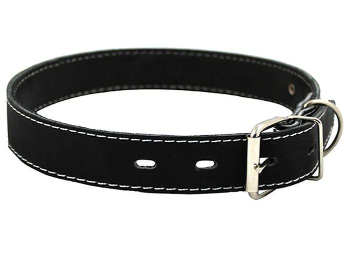 Ошейник для собак Каскад, с синтепоном, ширина 2 см, диаметр 27-35 см, цвет: черный00020012чОшейник кожаный черный с синтепоном ширина 20 мм, обхват шеи от 27 до 35 см