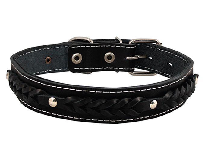 Ошейник для собак Каскад Классика, цвет: черный, ширина 3 см, обхват шеи 44-53 см. 00030071 ошейник для собак каскад классика брезентовый ширина 2 см обхват шеи 31 39 см