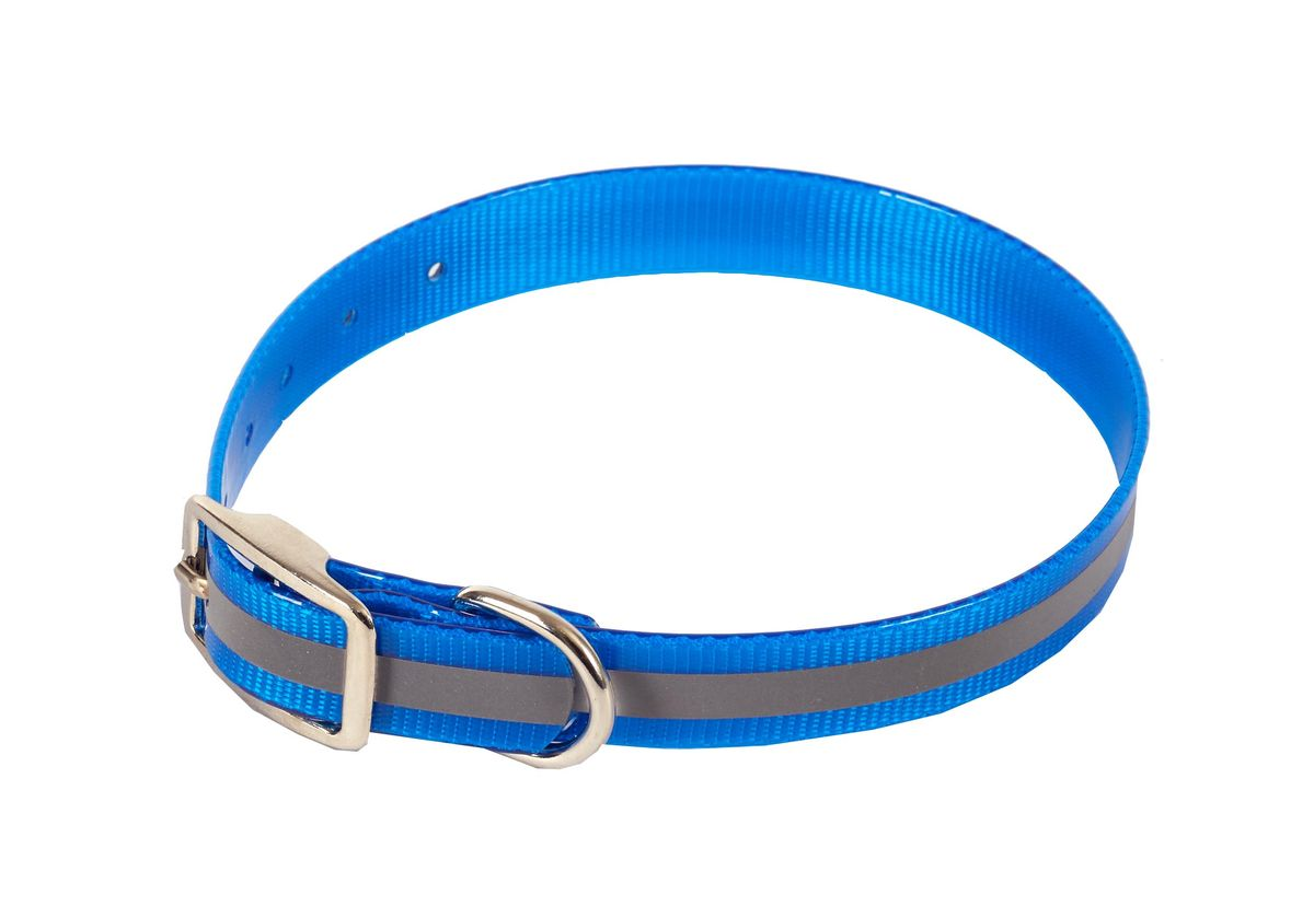 Ошейник для собак Каскад Синтетик, со светоотражающей полосой, цвет: синий, ширина 2 см, обхват шеи 25-35 см ошейник для собак каскад классика брезентовый ширина 2 см обхват шеи 31 39 см