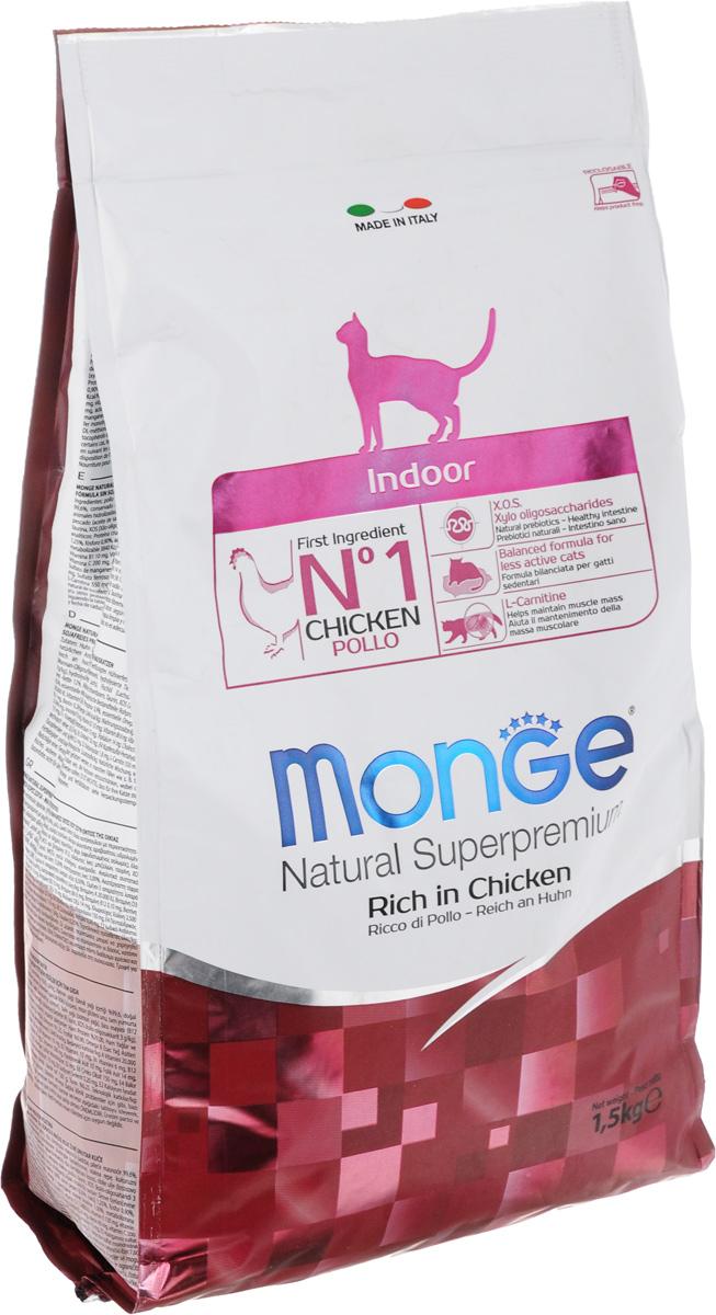 Корм сухой Monge для взрослых домашних кошек, с курицей, 1,5 кг70005111Сухой корм Monge - это полноценный корм с превосходным вкусом для домашних кошек, которые нуждаются в контролируемом питании, особенно при стерилизации. Потребление растительных волокон позволяет исключить накопления комочков шерсти в желудке. Оптимальное соотношение жировых кислот Омега- 3 и Омега-6 способствует нормальному функционированию сердца, и обеспечивает идеальный баланс кишечной флоры. Также, содержит L-карнитин, который препятствует накоплению жира, сохраняя при этом функции печени животного. Безупречная рецептура данного корма удовлетворяет как аппетит кошки, так и помогает сохранить зубы здоровыми и чистыми, дыхание свежим, а шерсть блестящей. Товар сертифицирован. Рекомендуем!