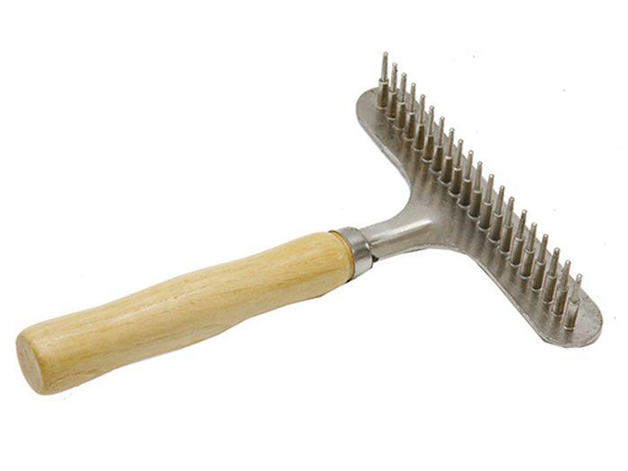 """Расческа-грабли для животных """"Каскад"""", с деревянной ручкой, малая"""