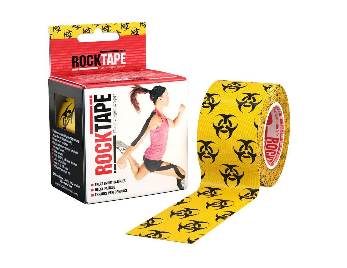 Кинезиотейп Rocktape Design, цвет: желтый, черный, 5 x 500 см кинезиотейп rocktape digit цвет телесный 2 5 x 500 см 2 шт