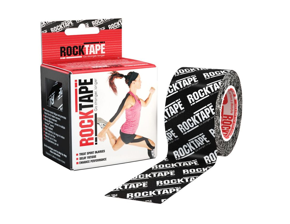 Кинезиотейп Rocktape Classic, цвет: черный, белый, 5 x 500 см кинезиотейп веерообразный rocktape precut edema strips цвет черный 20 шт