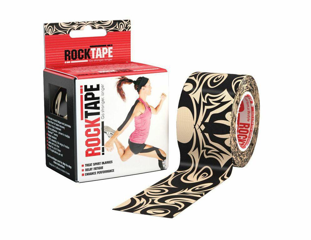 Кинезиотейп Rocktape Design, цвет: бежевый, черный, 5 x 500 см кинезиотейп rocktape digit цвет телесный 2 5 x 500 см 2 шт