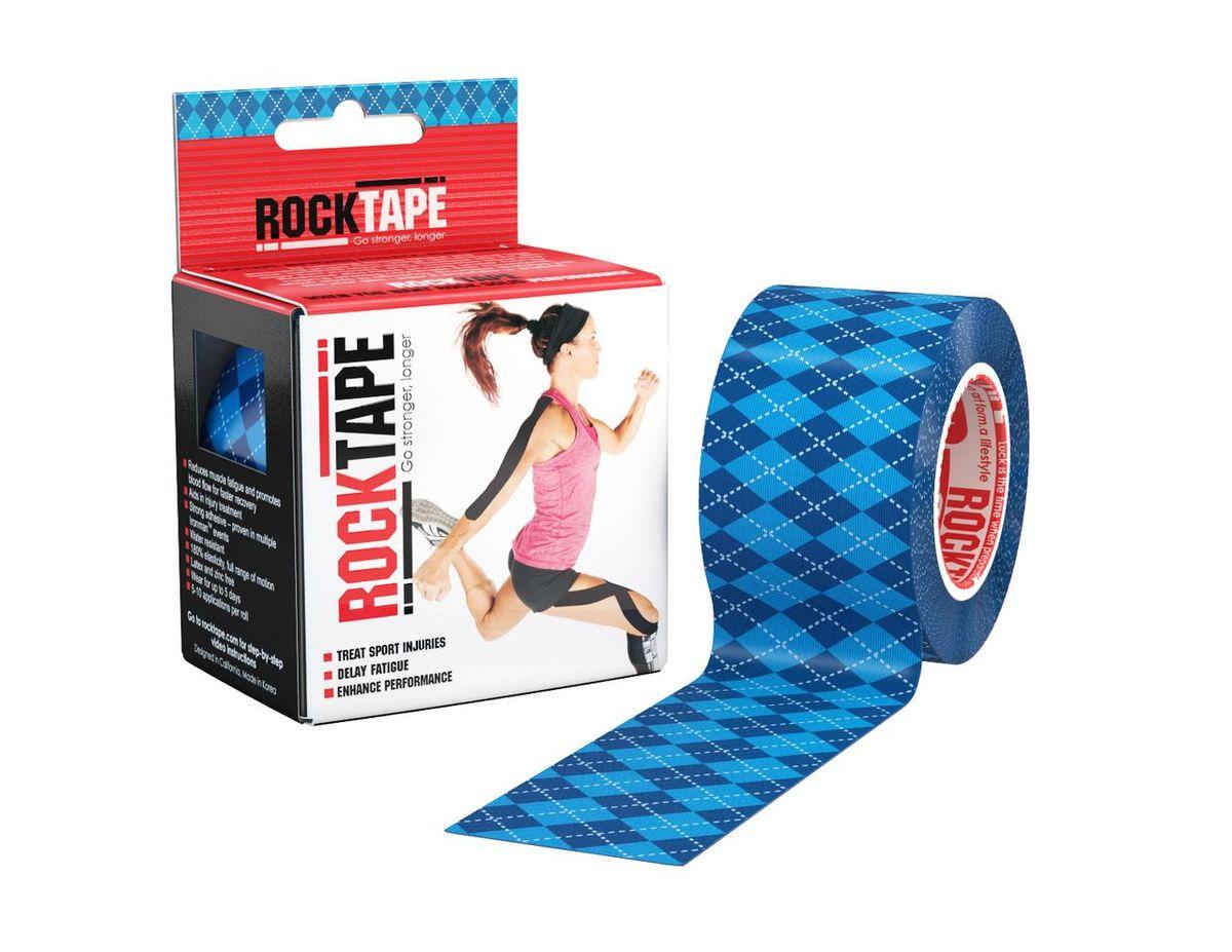 Кинезиотейп Rocktape Design, цвет: синий, темно-синий, 5 x 500 см кинезиотейп rocktape digit цвет телесный 2 5 x 500 см 2 шт