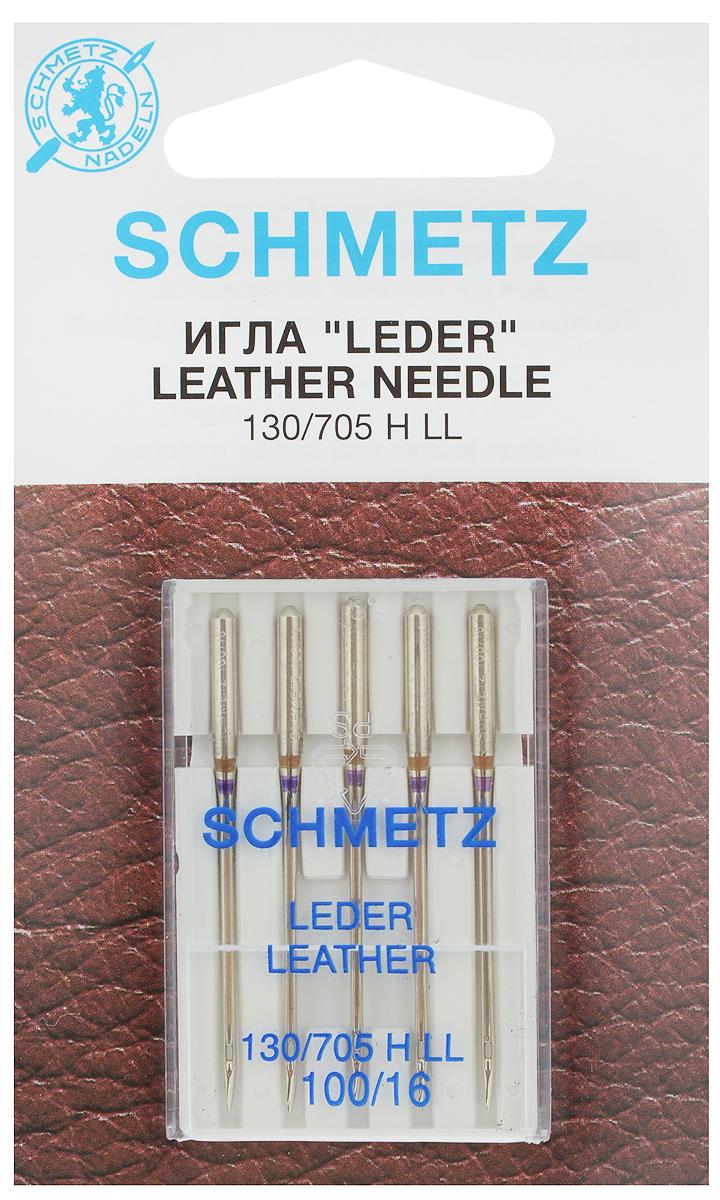 """Набор игл для кожи Schmetz """"Leder"""", №100, 5 шт"""
