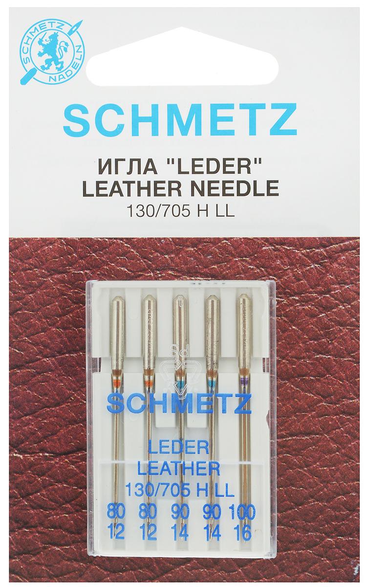 """Набор игл для кожи Schmetz """"Leder"""", №80, 90, 100, 5 шт"""