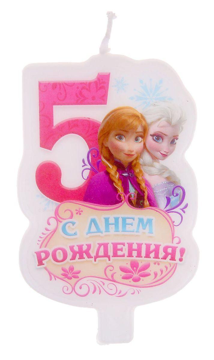 Disney Свеча для торта С днем рождения Цифра 5 Холодное сердце disney свеча для торта с днем рождения цифра 3 холодное сердце