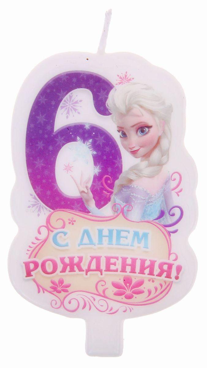 Disney Свеча для торта С днем рождения Цифра 6 Холодное сердце disney свеча для торта с днем рождения цифра 3 холодное сердце