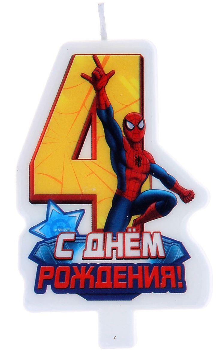 Marvel Свеча для торта С днем рождения Цифра 4 Человек Паук веселый праздник свеча цифра 8 человек паук