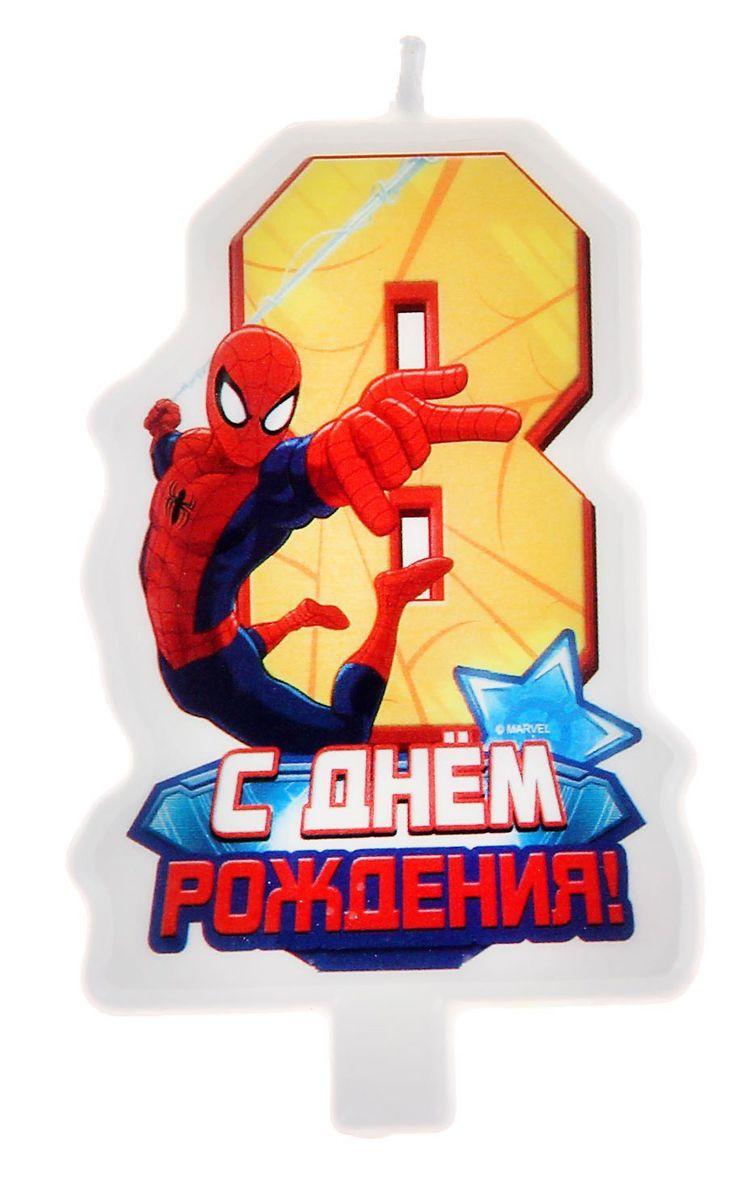 Marvel Свеча для торта С днем рождения Цифра 8 Человек Паук веселый праздник свеча цифра 8 человек паук