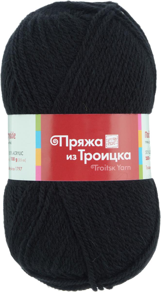 """Пряжа для вязания """"Подмосковная"""", цвет: черный (0140), 250 м, 100 г, 10 шт"""