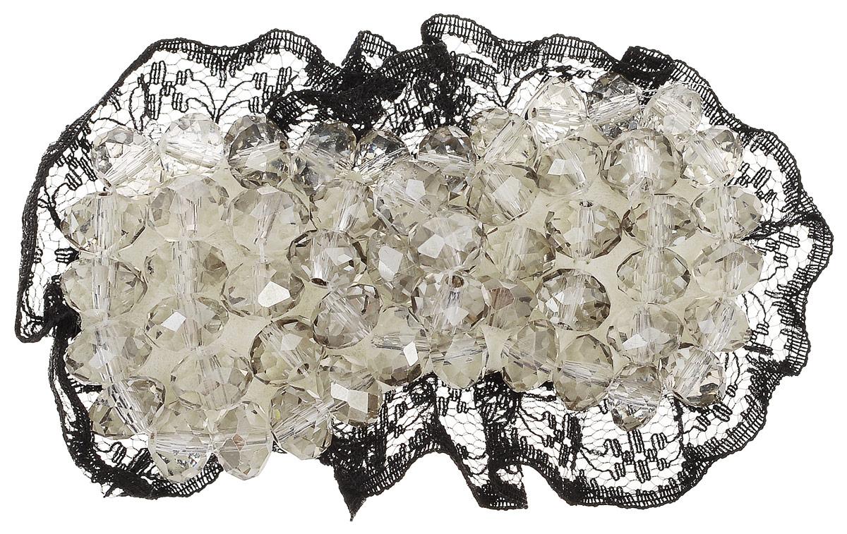 Зажим для волос Fashion House, цвет: черный, бежевый. FH28527 зажим для волос fashion house спанч боб цвет желтый fh27762