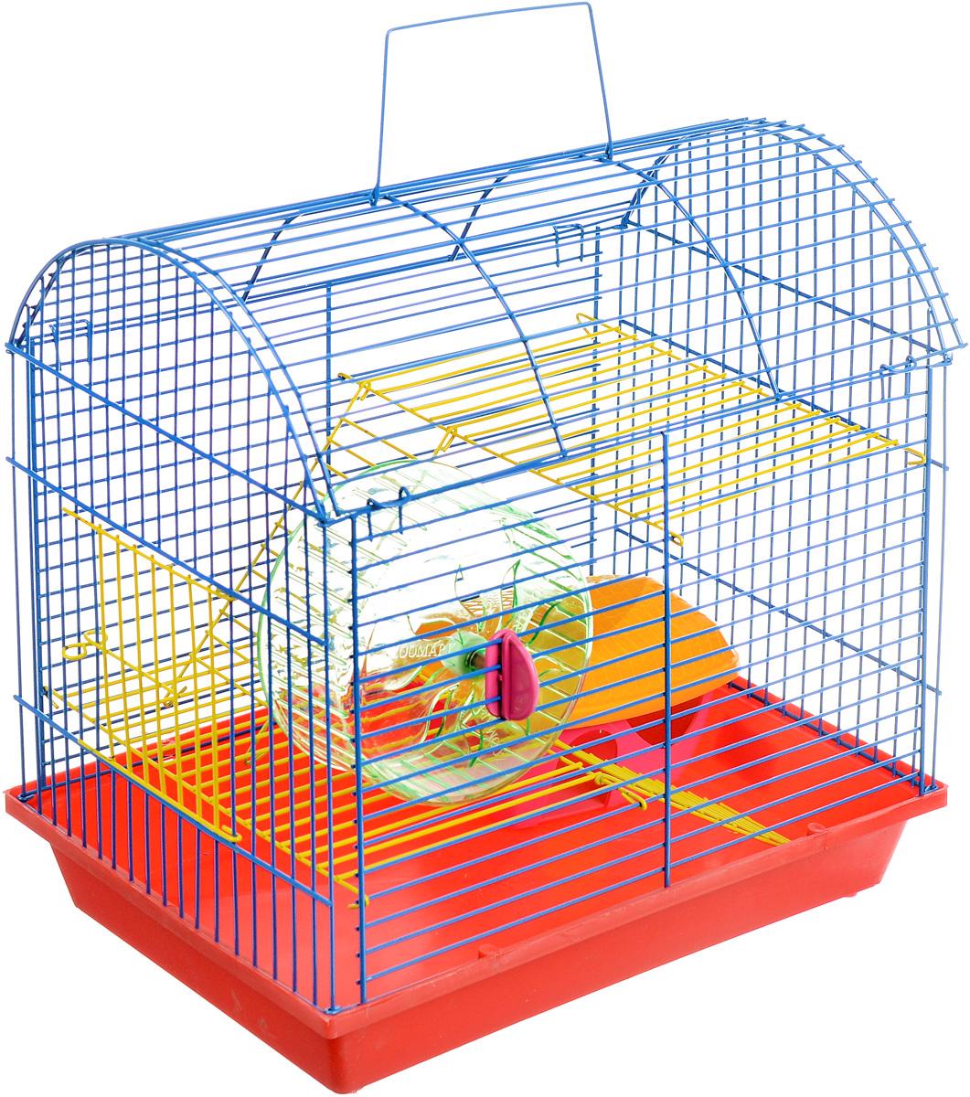 Клетка для грызунов ЗооМарк, 2-этажная, цвет: красный поддон, синяя решетка, желтые этажи, 37 х 23 х 35 см клетка для грызунов зоомарк гризли 4 этажная цвет красный поддон синяя решетка красные этажи 41 х 30 х 50 см