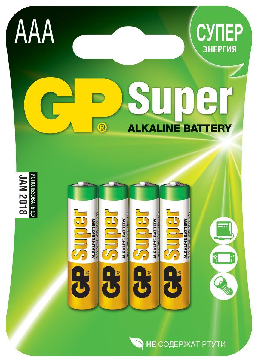 Батарейка алкалиновая GP Batteries Super Alkaline, тип АAА, 4 шт батарейка алкалиновая gp batteries super alkaline тип крона 9v