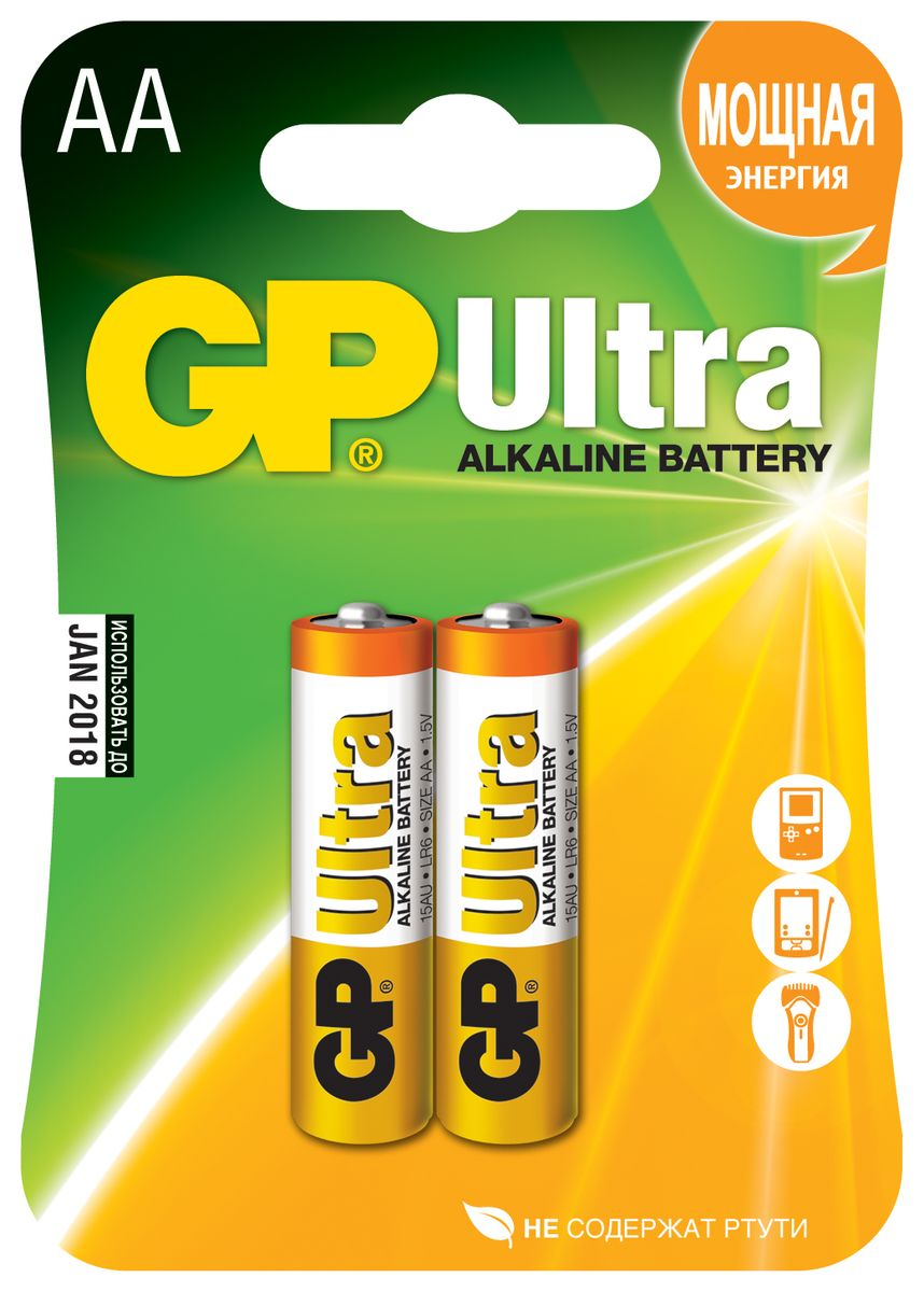 Батарейка алкалиновая GP Batteries Ultra Alkaline, тип АА, 2 шт батарейка алкалиновая gp batteries super alkaline тип крона 9v