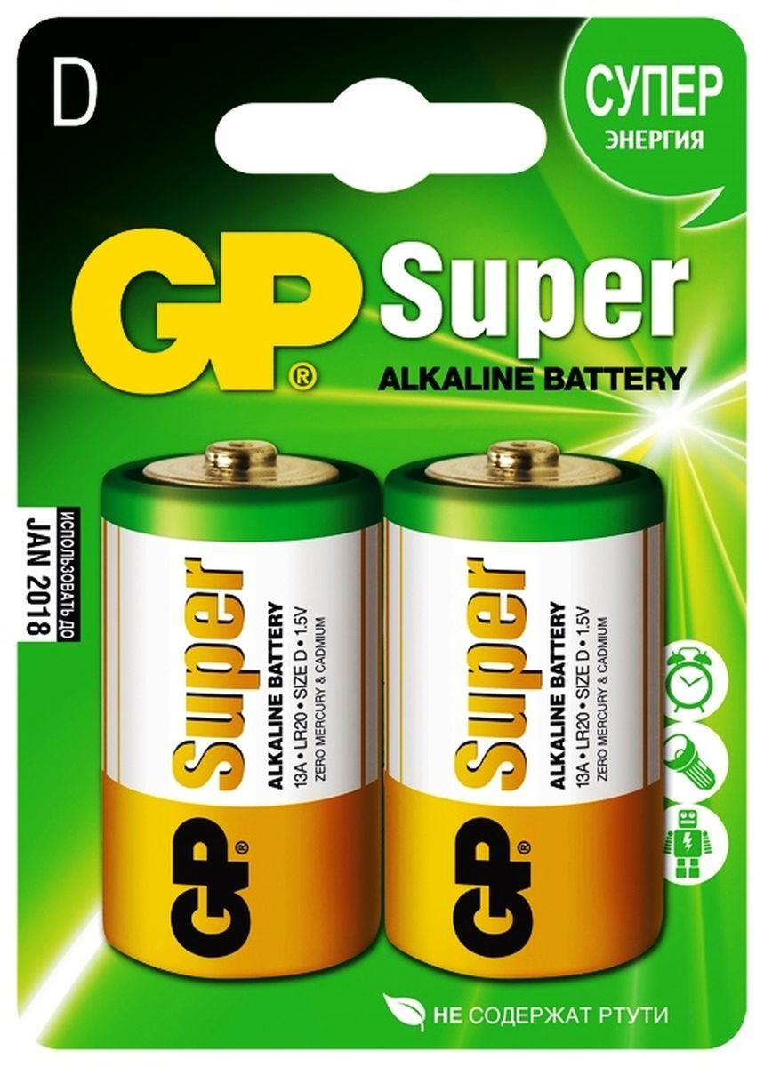 Батарейка алкалиновая GP Batteries Super Alkaline, тип D, 2 шт батарейка алкалиновая gp batteries super alkaline тип крона 9v