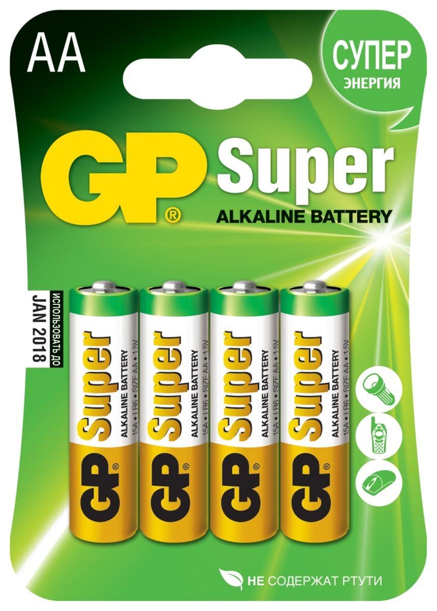 Батарейка алкалиновая GP Batteries Super Alkaline, тип АА, 4 шт батарейка алкалиновая gp batteries super alkaline тип крона 9v
