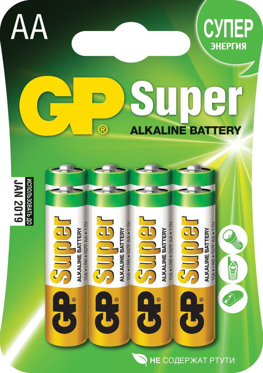 Батарейка алкалиновая GP Batteries Super Alkaline, тип АА, 8 шт батарейка алкалиновая gp batteries super alkaline тип крона 9v