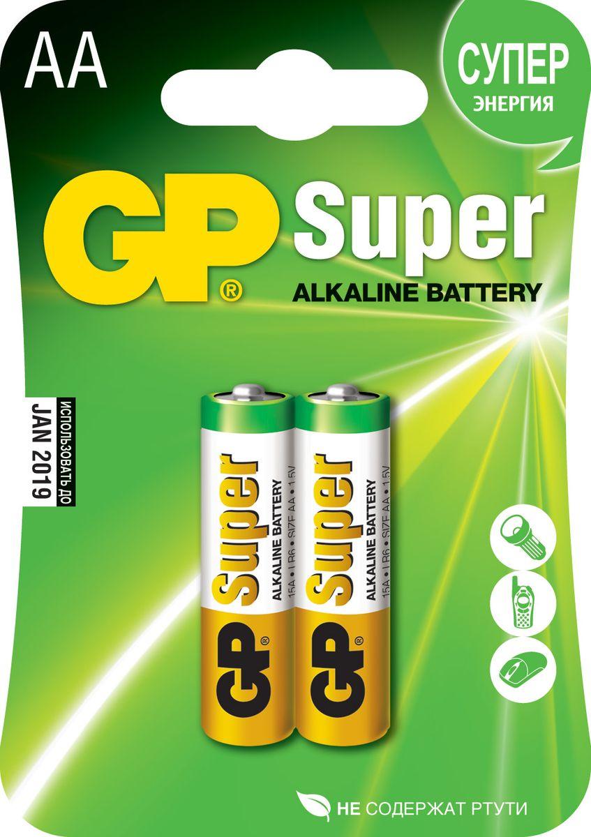 Набор алкалиновых батареек GP Batteries Super Alkaline, тип АА, 2 шт батарейка алкалиновая gp batteries super alkaline тип аа 4 шт