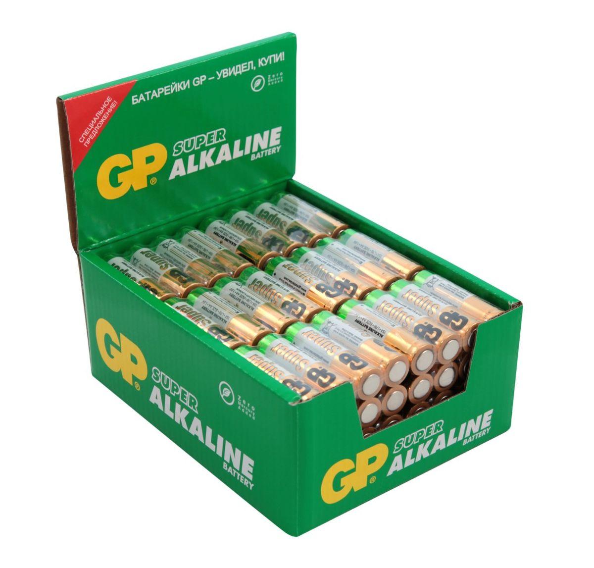 Батарейка алкалиновая GP Batteries Super Alkaline, тип АА, 96 шт батарейка алкалиновая gp batteries super alkaline тип крона 9v
