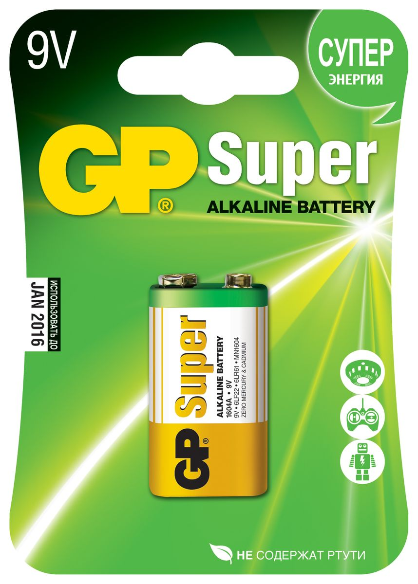 Батарейка алкалиновая GP Batteries Super Alkaline, тип крона, 9V батарейка алкалиновая gp batteries super alkaline тип крона 9v