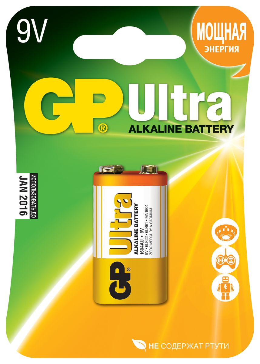 Батарейка алкалиновая GP Batteries Ultra Alkaline, тип крона, 9V батарейка алкалиновая gp batteries super alkaline тип крона 9v