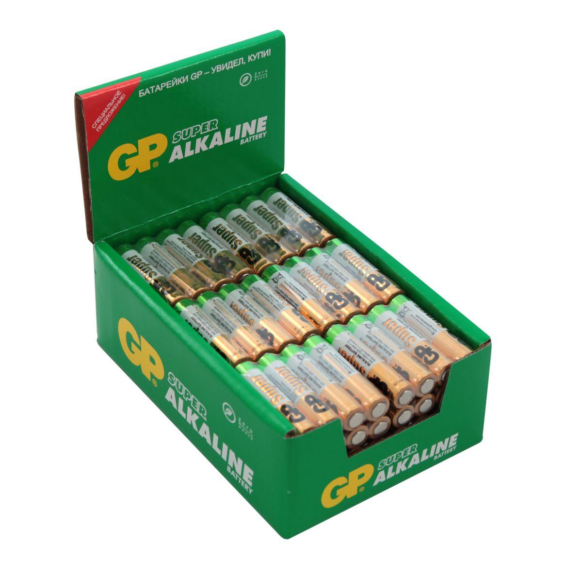 Батарейка алкалиновая GP Batteries Super Alkaline, тип ААА, 96 шт батарейка алкалиновая gp batteries super alkaline тип крона 9v