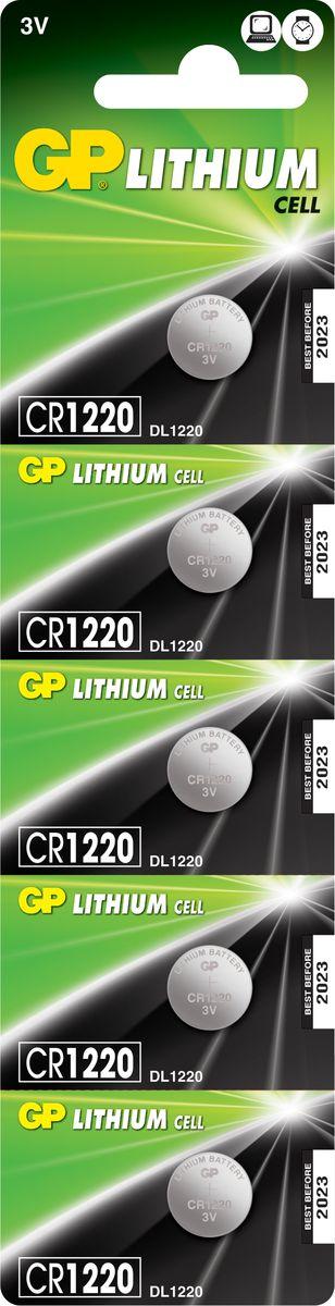 Набор литиевых батареек GP Batteries, тип СR1220, 3В, 5 шт GP Batteries
