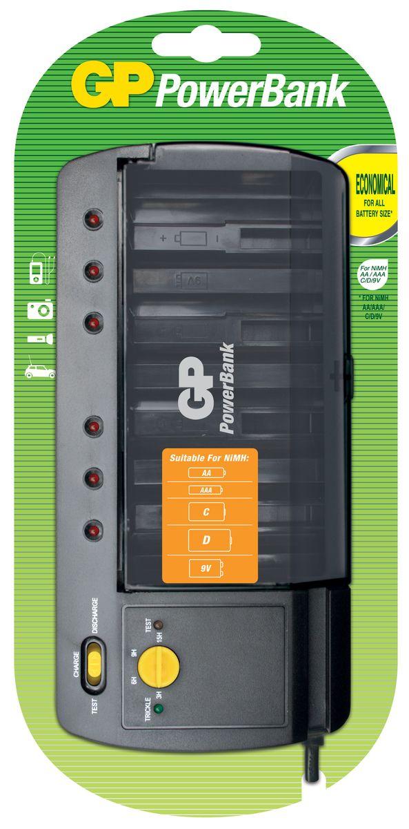 Универсальное зарядное устройство GP Batteries для аккумуляторов типа АА, ААА, С, D, Крона (9V) зарядное для аккумуляторов gp batteries 2 ааа 650 mah
