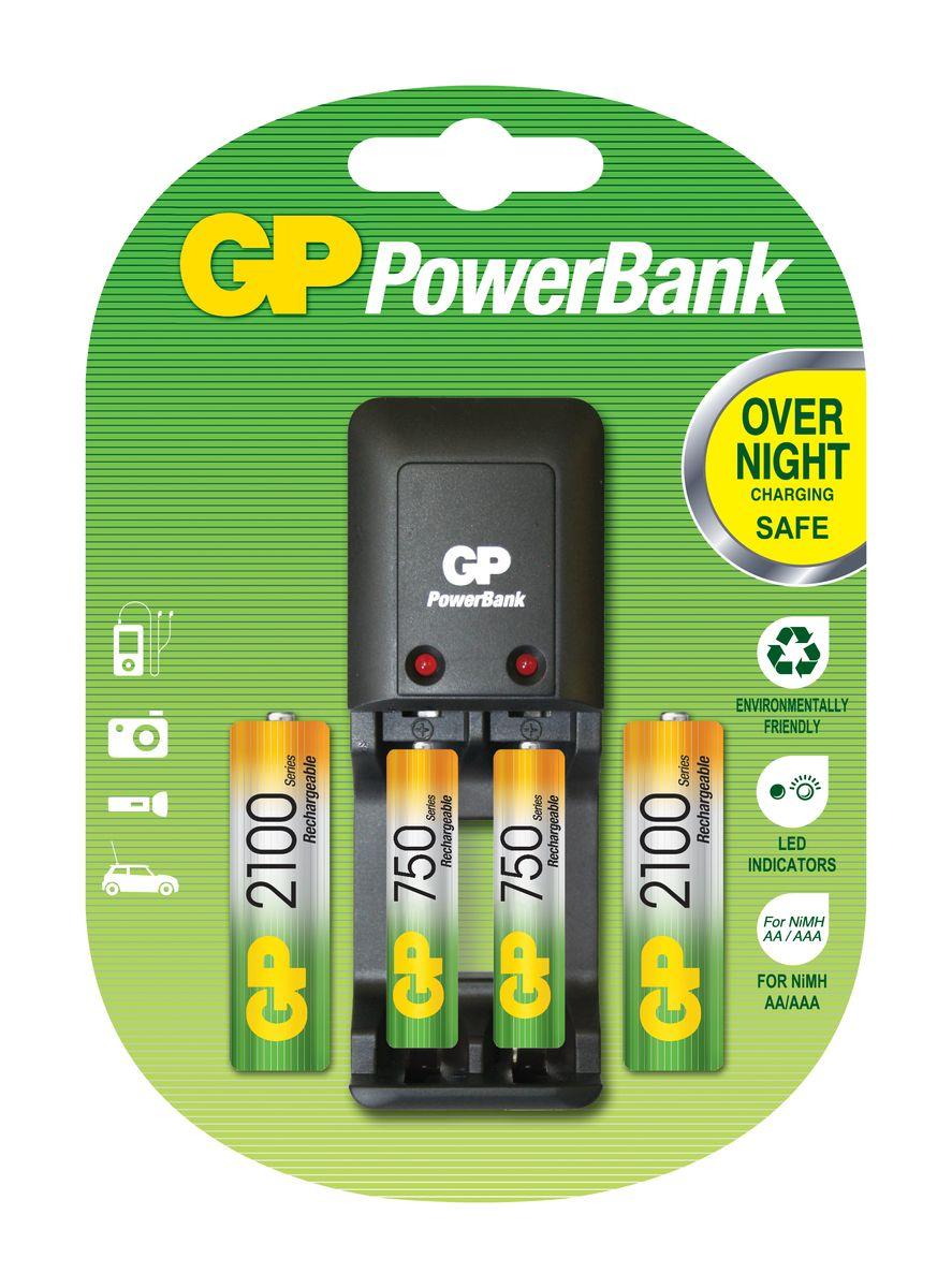 Зарядное устройство для аккумуляторов GP Batteries + 2 АА (2100 mAh) + 2 ААА (750 mAh) универсальное зарядное устройство gp batteries для аккумуляторов типа аа ааа с d крона 9v