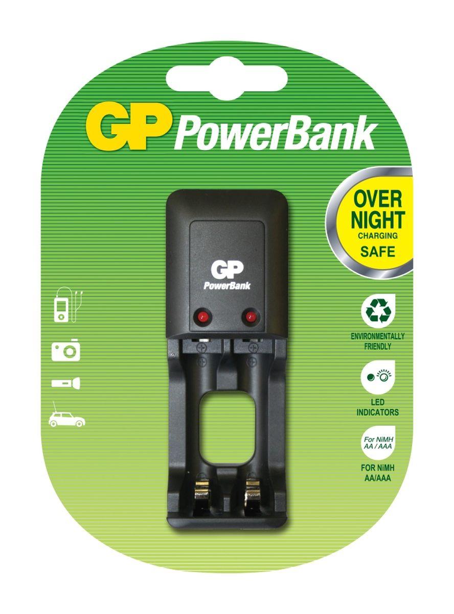 Устройство зарядное GP PowerBank, для заряда 2-х аккумуляторов типа АА, ААА зарядное устройство и аккумулятор gp powerbank pb420gs130 1300mah aa 4шт