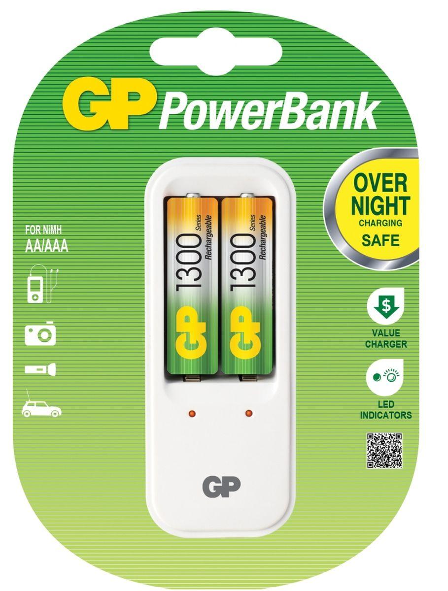 Зарядное устройство GP Batteries, для заряда 2-х аккумуляторов типа АА, ААА + комплект из 2-х аккумуляторов NiMh, 1300 mAh, тип АА abs aaa aa batteries storage box case translucent white