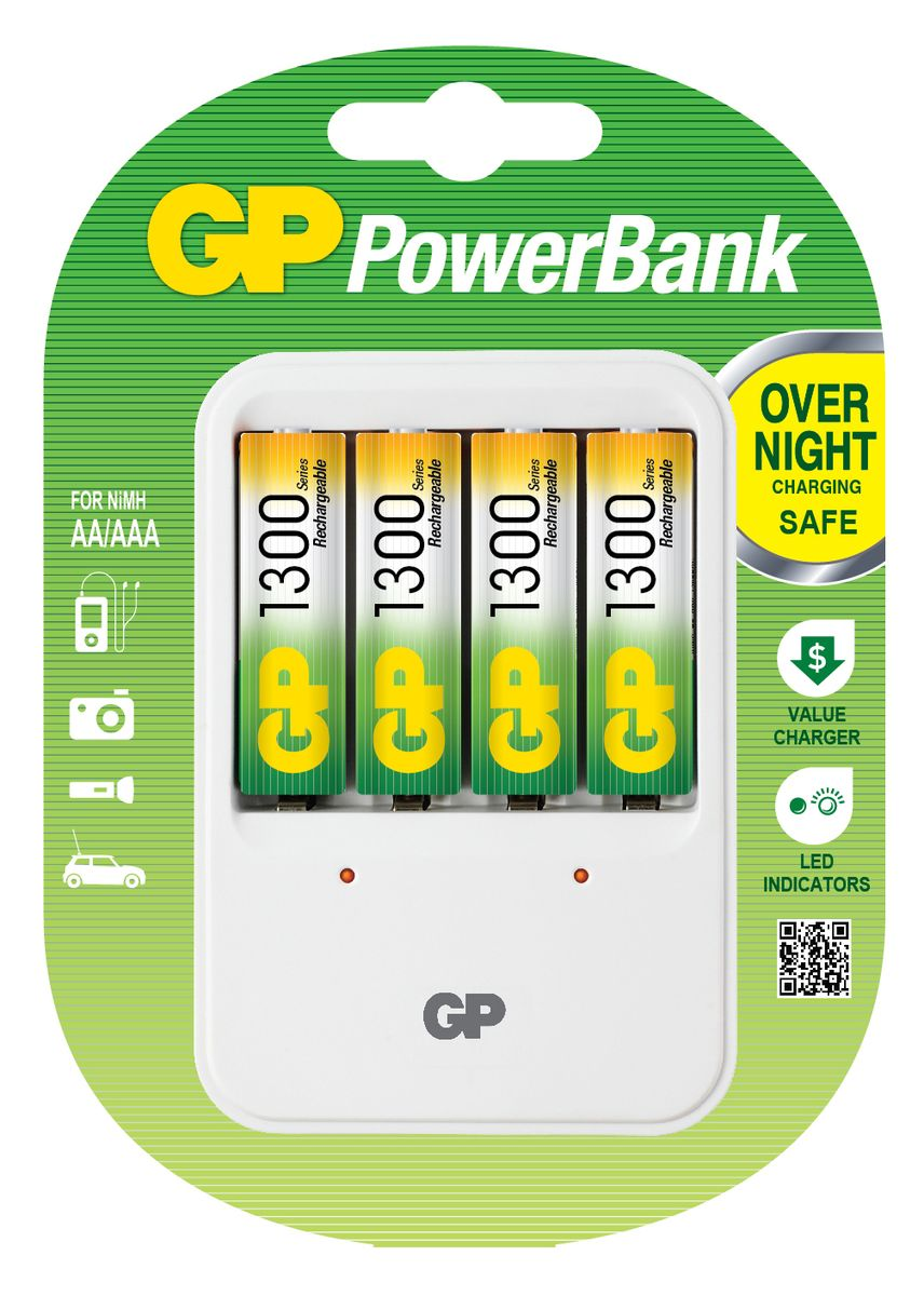цена на Устройство зарядное GP PowerBank, для заряда 4-х аккумуляторов типа АА, ААА + комплект из 4-х аккумуляторов NiMh, 1300 mAh, тип АА