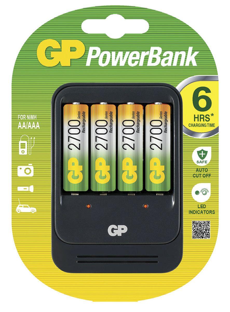 Зарядное устройство GP Batteries PB570 для заряда 4-х аккумуляторов типа АА, ААА + комплект из 4-х аккумуляторов NiMh, 2700 mAh, тип АА зарядное для аккумуляторов gp batteries 2 ааа 650 mah
