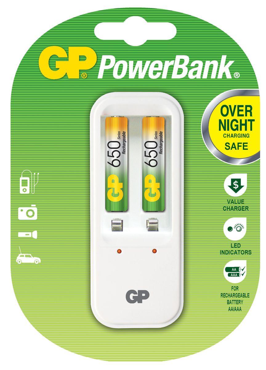 Зарядное для аккумуляторов GP Batteries + 2 ААА (650 mAh) универсальное зарядное устройство gp batteries для аккумуляторов типа аа ааа с d крона 9v