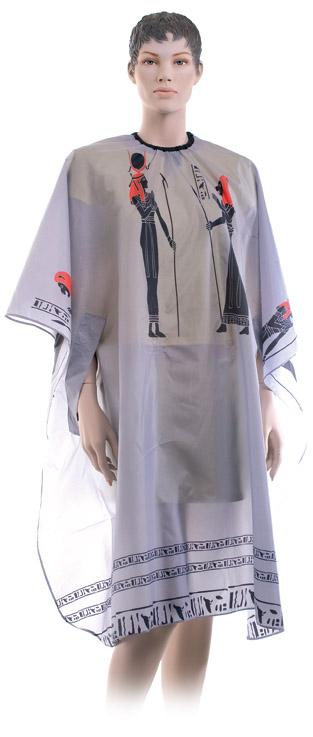 Dewal Пеньюар для стрижки Египет, нейлон, серый, с прорезями для рук 124х146 см, на крючках пеньюар для стрижки dewal professional даша путешественница 95 120 см
