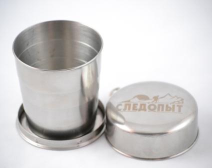 Стакан складной Следопыт, 0,25 л36225Складной стакан Следопыт изготовлен из нержавеющей стали. Такой стаканчик станет незаменим в походах и путешествиях, где обычные сосуды для питья были бы слишком громоздки или неудобны. Объем: 250 мл. Рекомендуем!