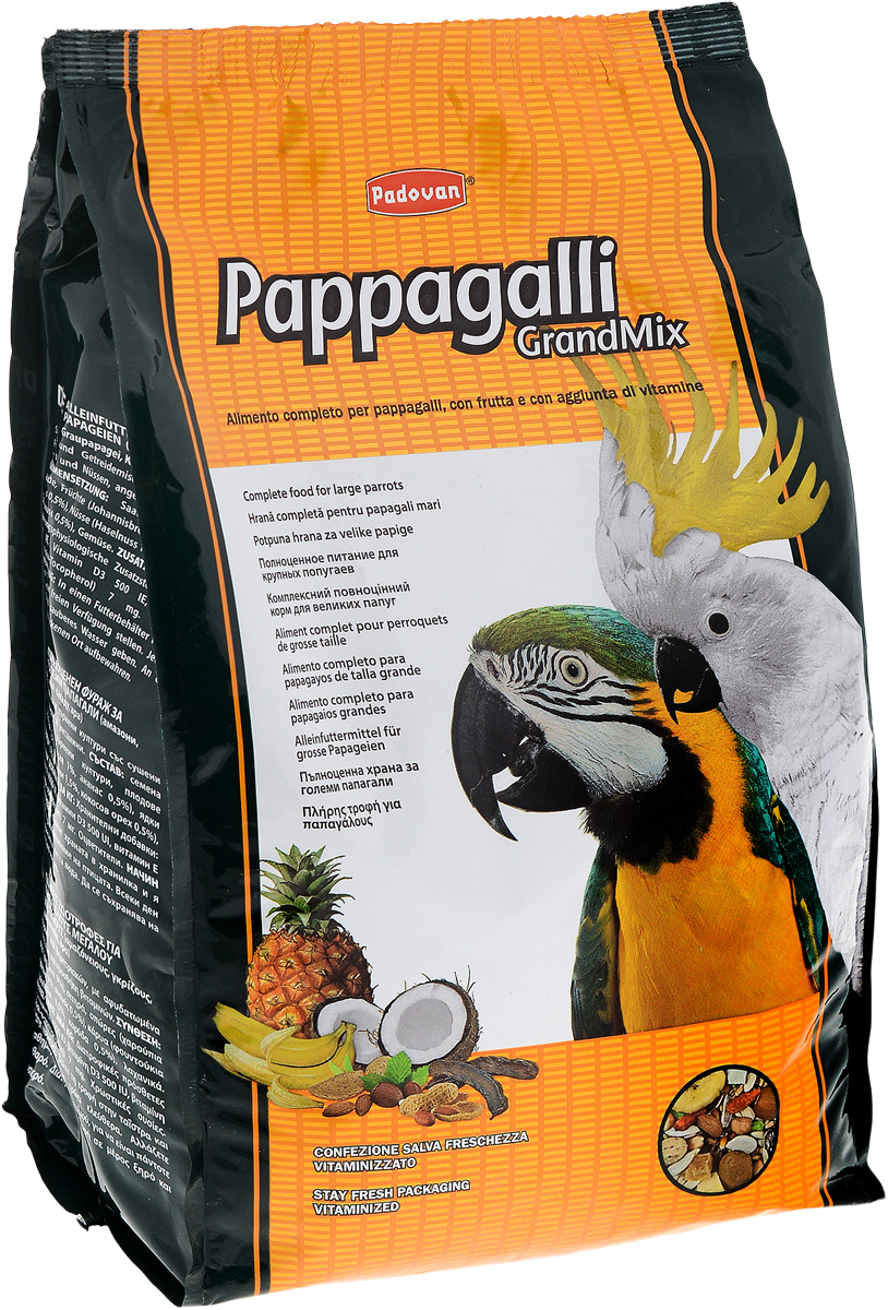 Корм Padovan Pappagalli Grandmix, для крупных попугаев, 2 кг padovan корм padovan lino для птиц зёрна льна 1 кг