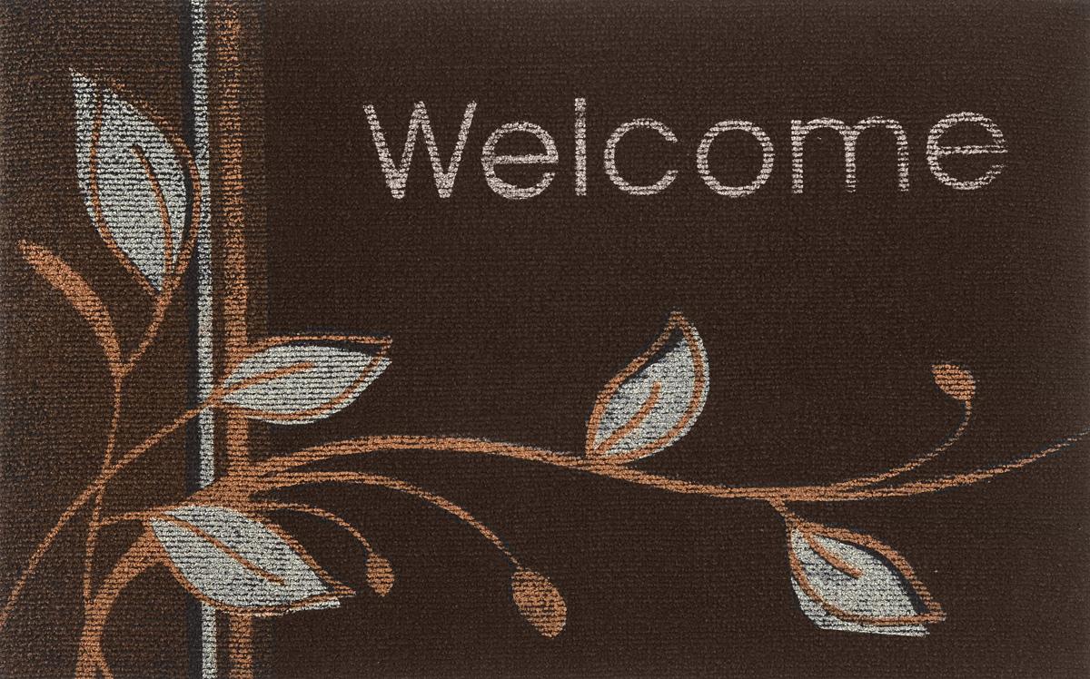 цена на Коврик придверный EFCO Нью Эден, цвет: темно-коричневый, 68 х 45 см