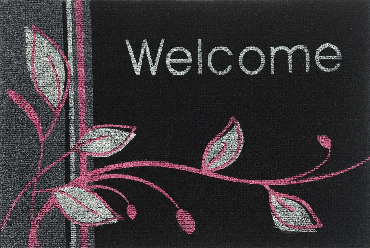 цена на Коврик придверный EFCO Нью Эден, цвет: черный, белый, розовый, 68 х 45 см