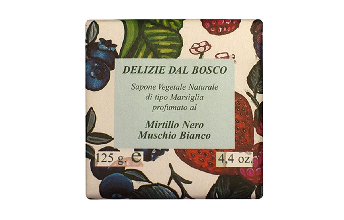 Iteritalia Мыло высококачественное натуральное растительное с ароматом ЧЕРНИКА/БЕЛЫЙ МУСКУС, 125 г