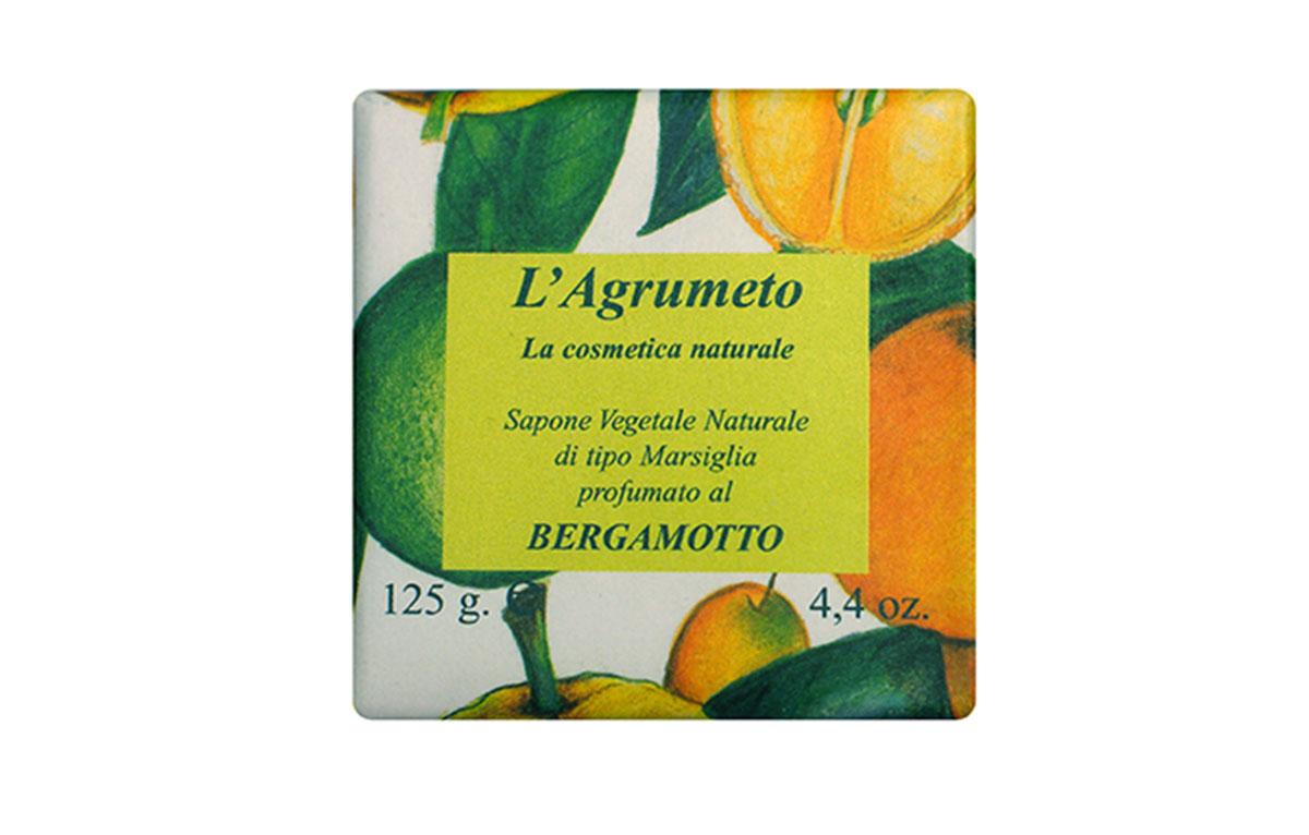 Iteritalia Мыло высококачественное натуральное растительное с ароматом БЕРГАМОТА, 125 г