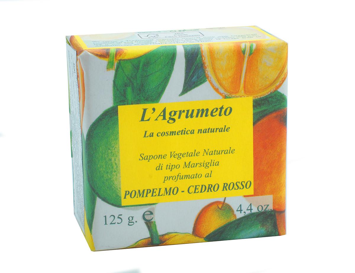 Iteritalia Мыло высококачественное натуральное растительное с ароматом ГРЕЙПФРУТ-КЕДР, 125 г