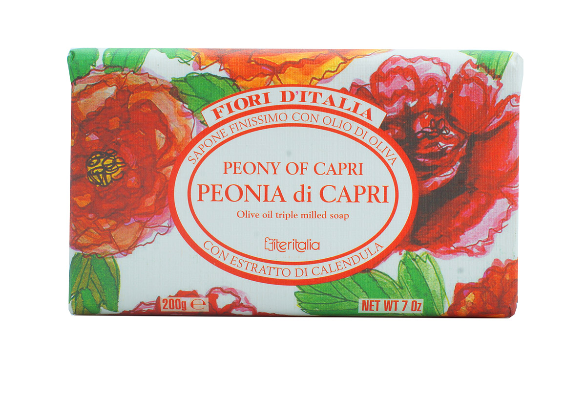 Iteritalia Мыло натуральное косметическое с оливковым маслом, аромат ПИОНЫ КАПРИ, 200 г iteritalia мыло высококачественное натуральное растительное с ароматом мандарин юдзу 125 г