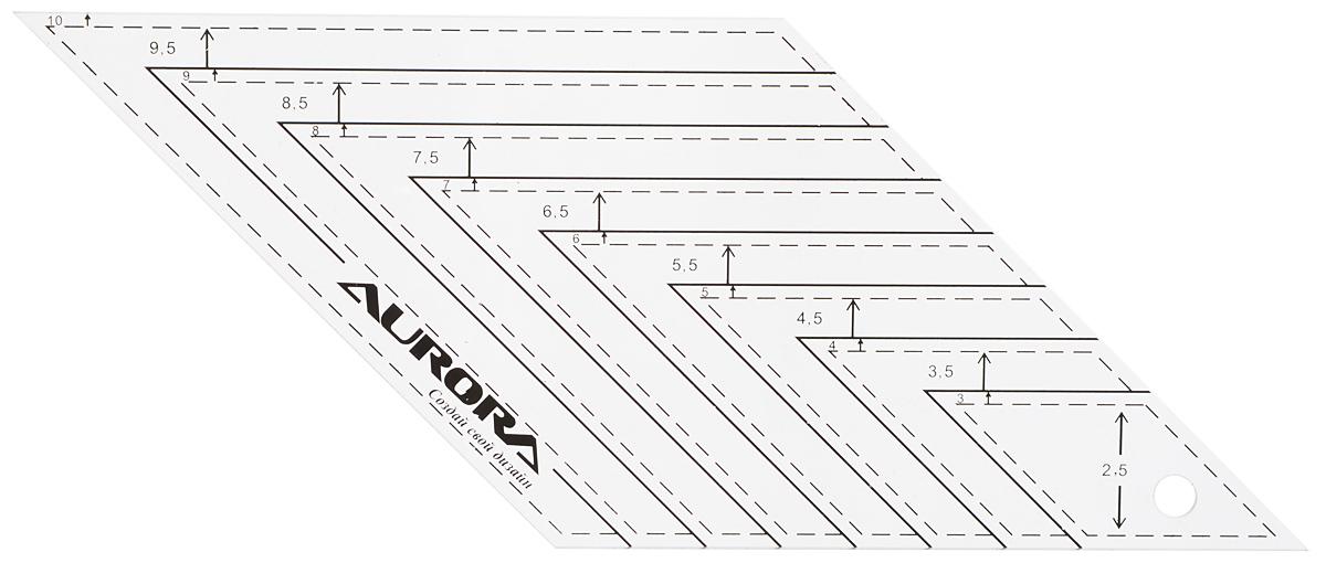 Линейка для пэчворка Aurora Ромб, с углом 45°, 26 х 11 см линейка треугольная 6 дюймов aurora au 609