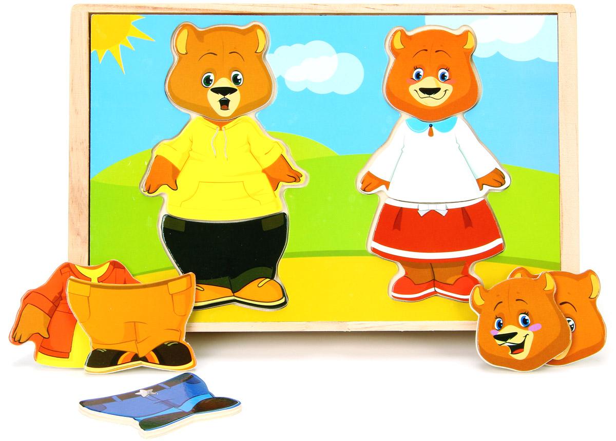 Мир деревянных игрушек Пазл для малышей Два медведя