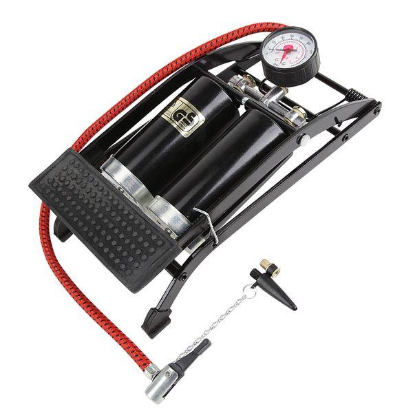 """Насос двухкамерный ножной """"Foot Pump"""" авто/вело ниппель, с манометром, цвет: черный. Т15702"""